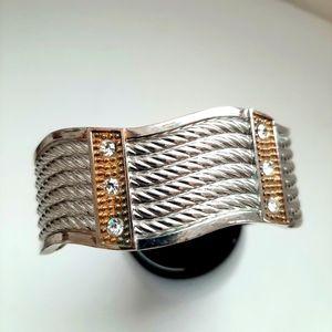 Vintage Silver Rhinestone Bangle Bracelet